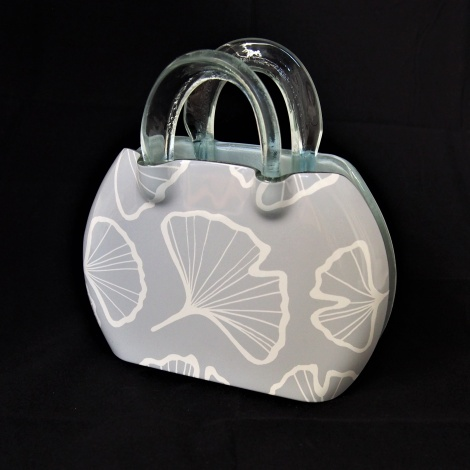 Kete Round Bag with Gingko Leaf in Smoke and White