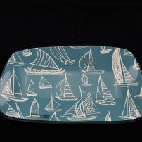 Small Pebble Dish with Yachts in Turquoise and White