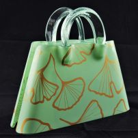 Kete Triangular Bag with Ginkgo Leaf in Sage & Gold