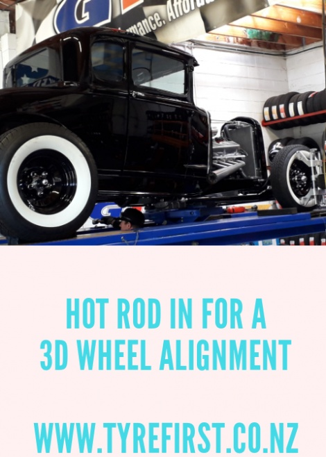 HOT ROD IN FOR A 3D WHEEL ALIGNMENT