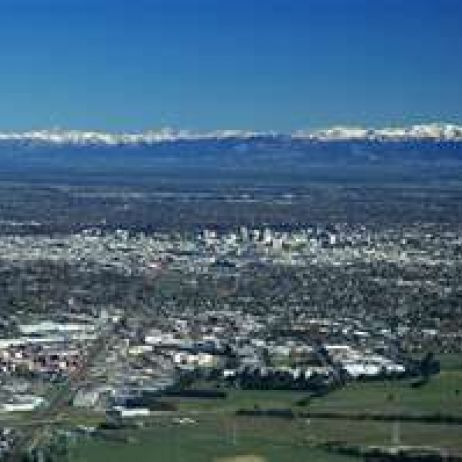 Christchurch , the Canterbury Plains with the Southern Alps in the background