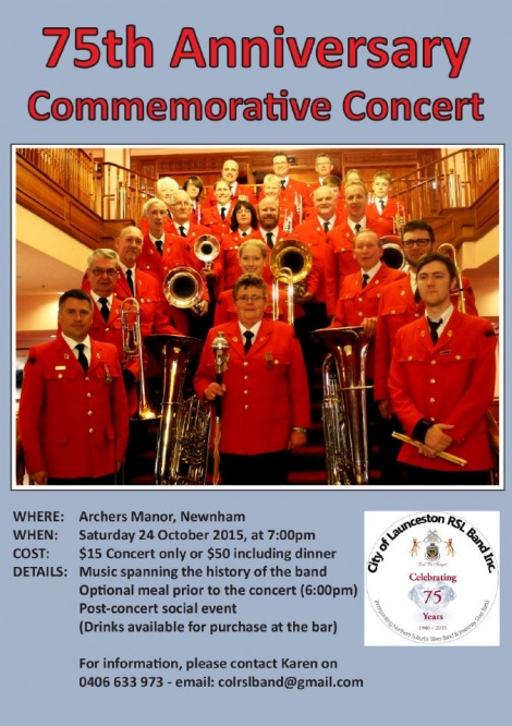 75th Anniversary Concert (Sat 24th Oct 15)