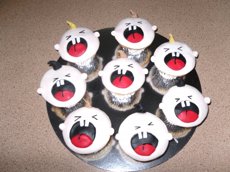 Screaming baby cupcakes
