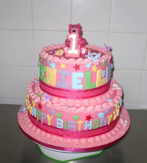Pink 2 tier cake