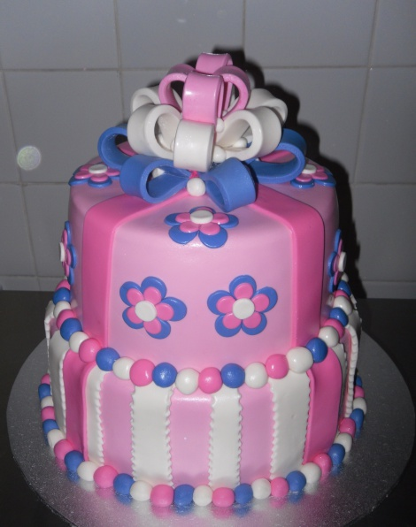 Two tier bow cake
