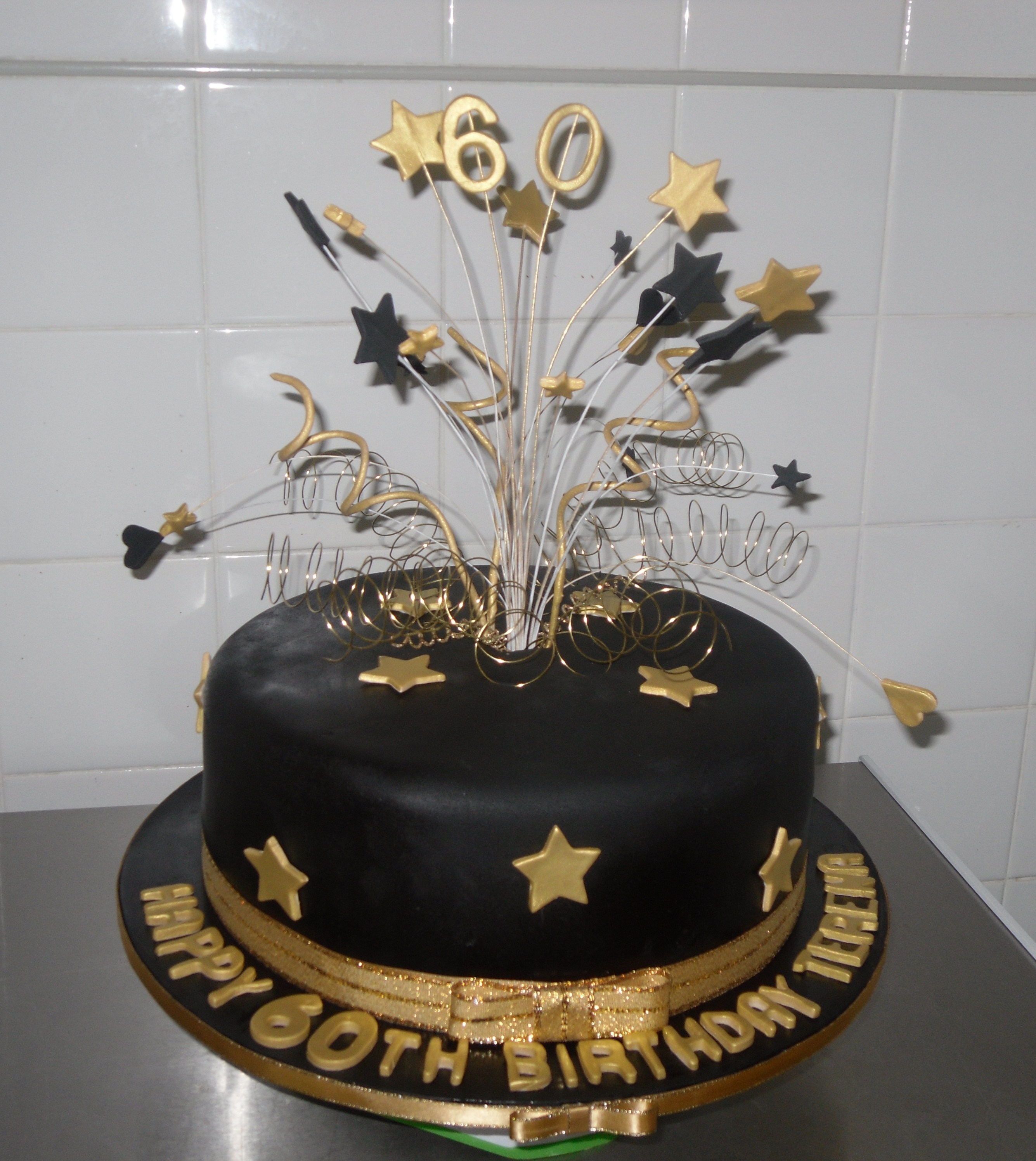 Bvlack And Gold Joint Birthday Cake