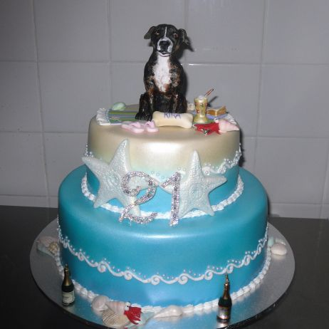 2 tier cake with personalised pet topper