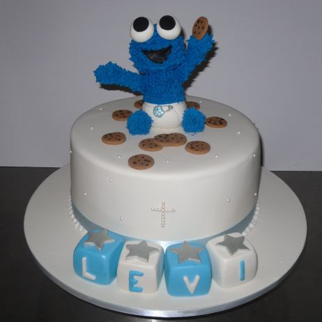 Christening cookie monster cake