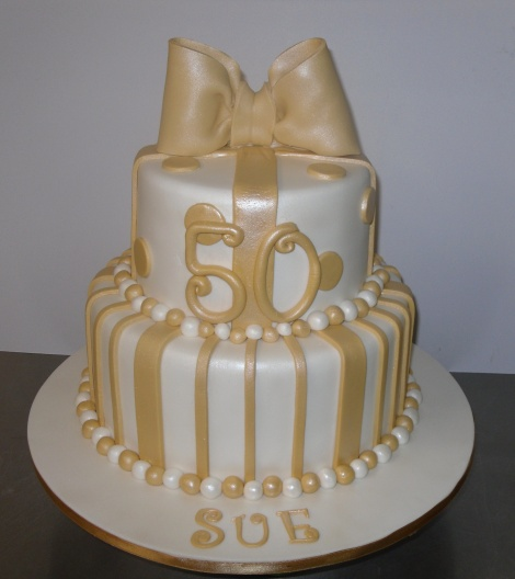 Gold 2 tier cake