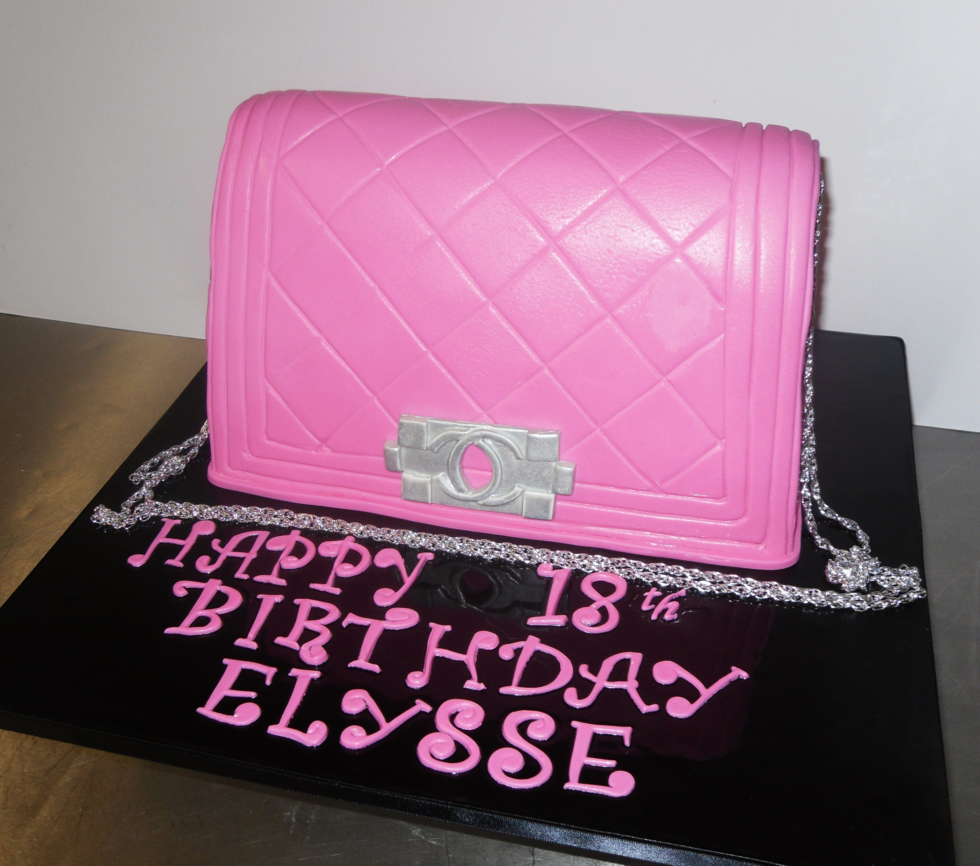 81a4eed92ab5 Pink chanel bag cake - Annette s Heavenly Cakes