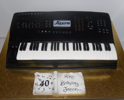 Piano keyboard cake