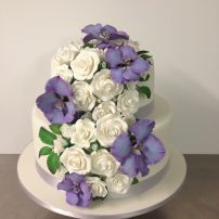 2 tier Orchid and Rose wedding cake