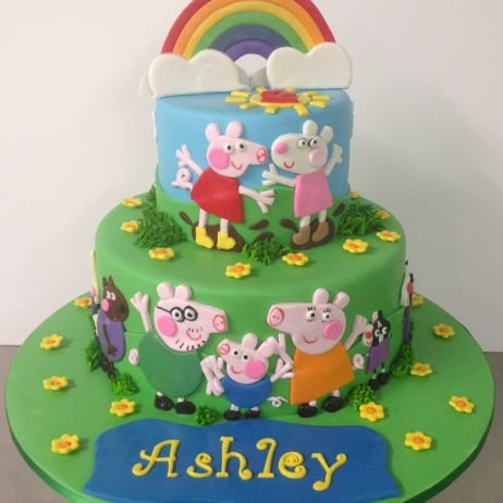 2 tier Peppa pig and friends cake