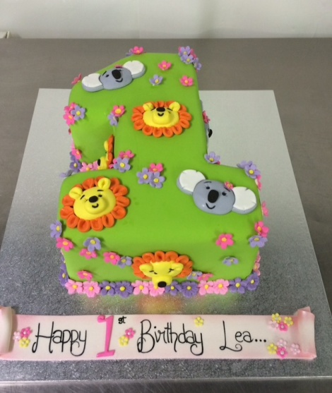 Lion and Koala number 1 cake