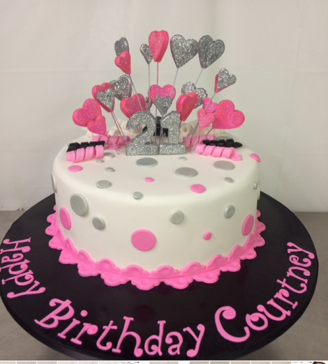 pink and silver 21st cake