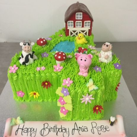 Number 4 cake with farm
