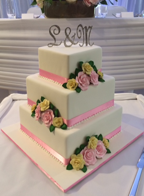 Square 3 tier wedding cake