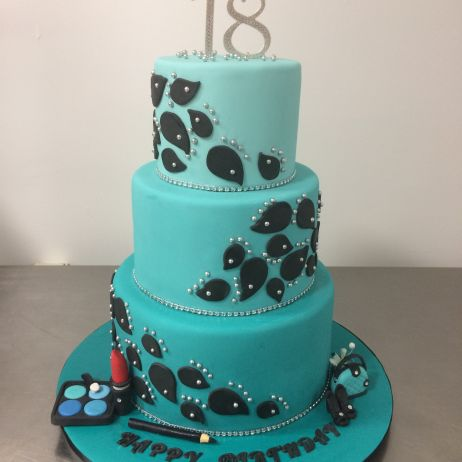 Turquoise 3 tier cake