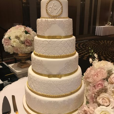 Six tier wedding cake