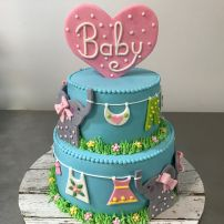 Clothes line baby cake