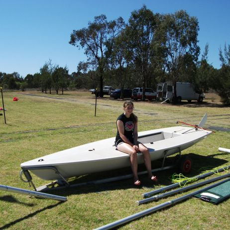 Jade on a club Laser about to go on her first solo club race