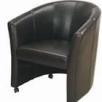 Leather tub chair on wheels