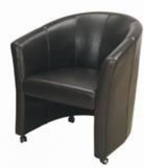 Delicieux Leather Tub Chair On Wheels