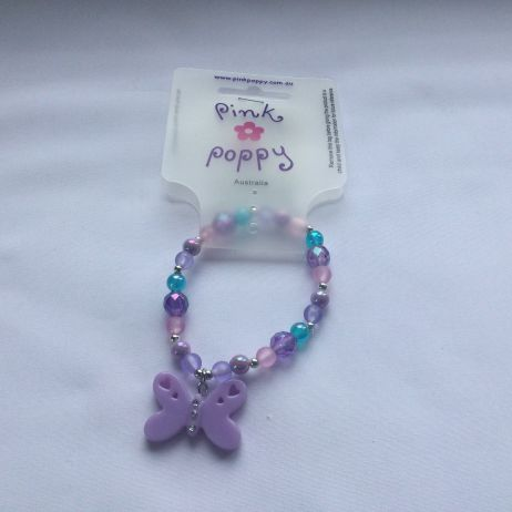 Butterfly Bead Bracelet - Purple