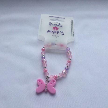 Butterfly Bead Bracelet - Light Pink