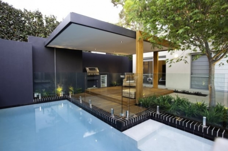 Pool feature walls , texture coated
