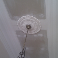 Ceiling rose and plasterglass cornice