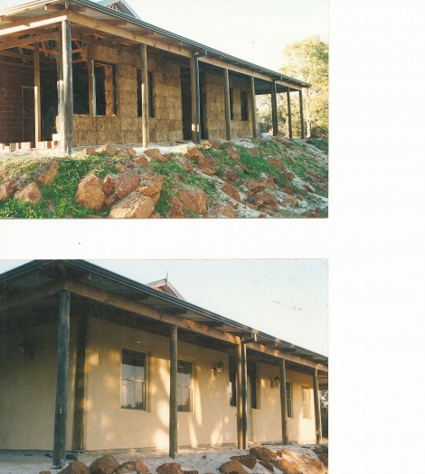 Strawbale during and after rendering