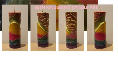 TEXTURAL RAINBOW TALL CANDLE