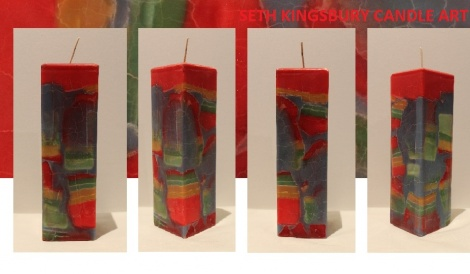 Vibrant Crackle Tall Candle
