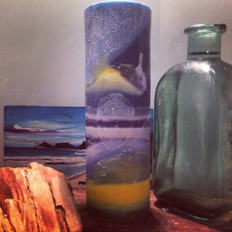 Walk on the beach tall cylinder candle