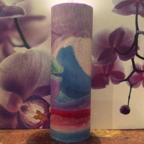 Blue orchid tall cylinder 1