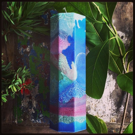 Tropical days tall octagonal candle