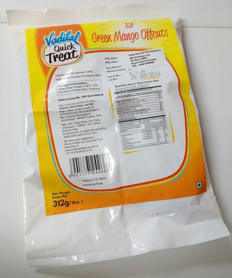 VADILAL FROZEN MANGO CUTS RAW