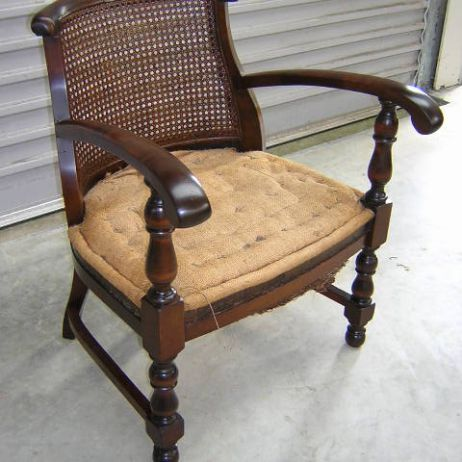 Cane filled armchair-after
