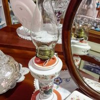 Hand painted milk glass oil lamp