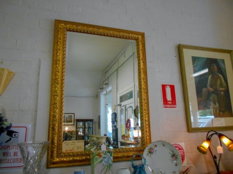 Large gold frame bevelled mirror (very heavy)