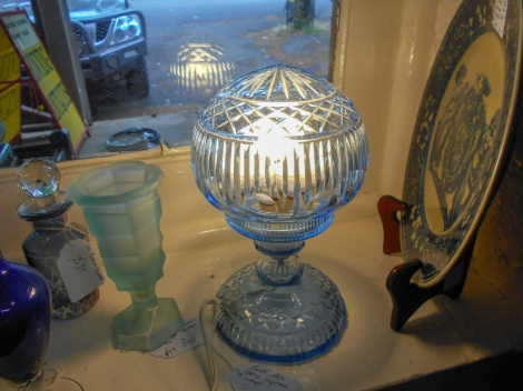 Blue crystal bedroom lamp