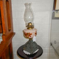 Oil lamp with hand painted font