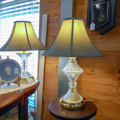 Similar crystal table lamps x 2 with matching shades