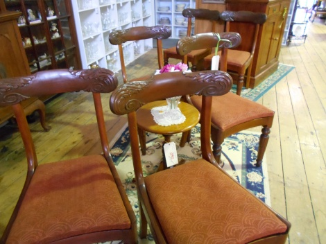 Antique upholstered drop seat chairs x 6