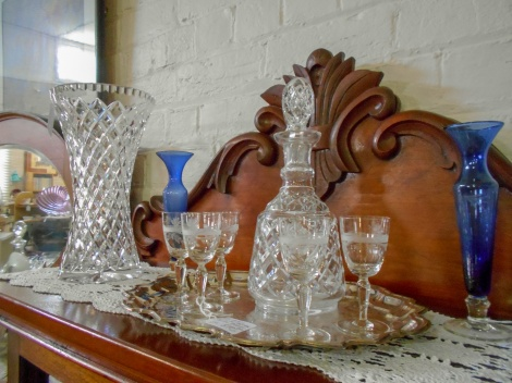 Fine crystal decanter and sherry glasses