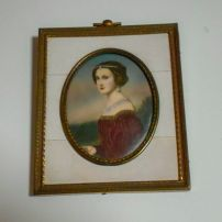 Antique miniature signed portrait