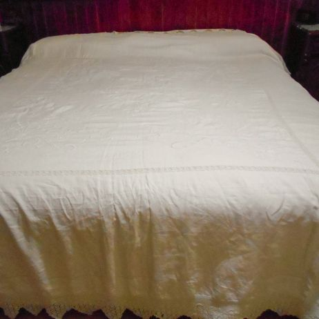 Antique embroidered king size bed cover