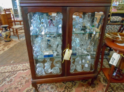 China display cabinet with glazed doors and mirror back