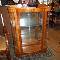 Golden oak colour display cabinets x 2